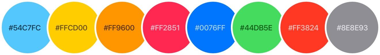 Paleta kolorów iOS 7
